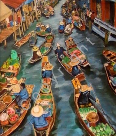 © Diana Seget - Asiatischer Hafen - 50 x 60 cm - Acryl - Preis: 1.550,-- €