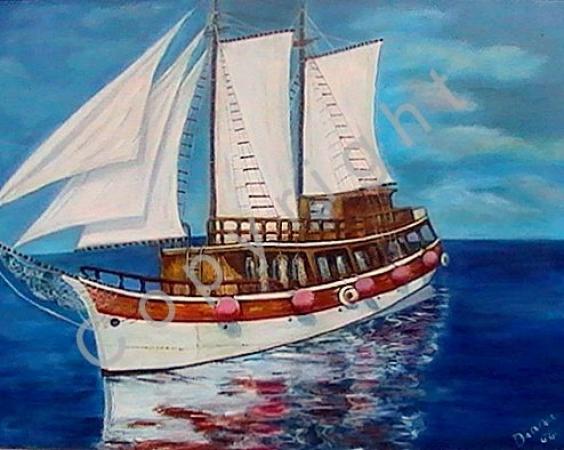 © Diana Seget - Ausflugsboot - 60 x 80 cm - Acryl - Grand Prix Resagna 2004 - Silberpokal - Preis: 1.600,-- €