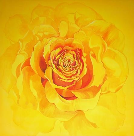 © Udo Becker - gelbe Rose - Acryl auf Leinwand - 2010 - 90 x 90 cm