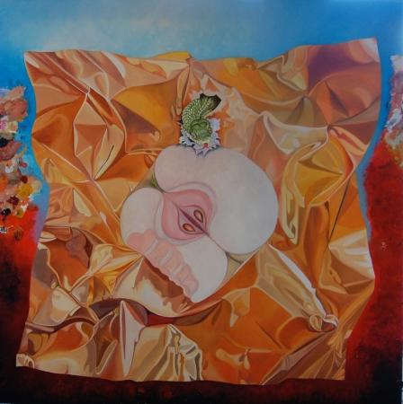 © Udo Becker - Apfel mit Schlange - Öl auf Leinwand - 90 x 90 cm